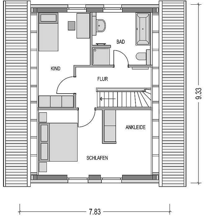 Grundriss DG Musterhaus Emsland ALto 300