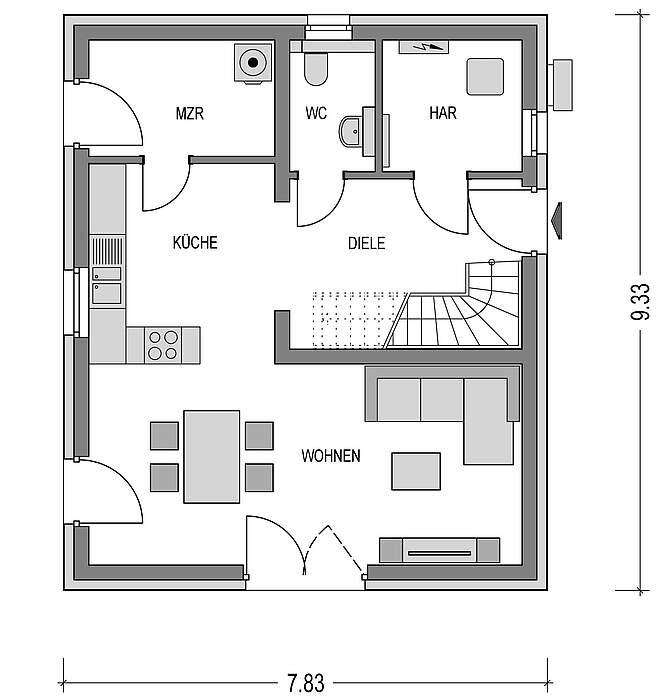 Grundriss EG Musterhaus Emsland Alto 300